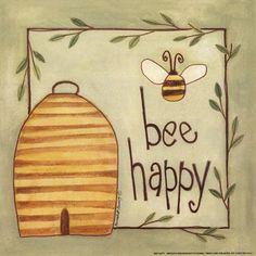 Bernadette Deming - Bee Happy - art prints and posters 8x8