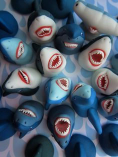 Scary Sharks Cupcake Toppers  12 Sharks by mimicafeunion on Etsy