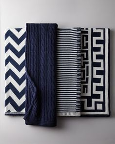 home decor interior design - ShopStyle: Neiman Marcus Navy and White Cotton Throws