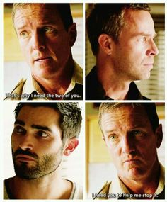 """S3 Ep21 """"The Fox and the Wolf"""" - Sheriff Stilinski, Chris Argent and Derek"""
