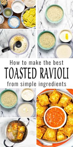 These Toasted Ravioli are crispy, so easy to make and vegan. Serve fresh from the pan with your favorite marinara or tomato sauce, a keeper that everyone will eat. #vegan #dairyfree #vegetarian #contentednesscooking #dinner #lunch #appetizer #toastedravioili #friedravioli Vegan Ravioli, Toasted Ravioli, Vegan Breakfast Recipes, Delicious Vegan Recipes, Healthy Recipes, Dairy Free Diet, Dairy Free Recipes, Spring Recipes, Light Recipes