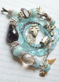 ON SALE chunky charm bracelet, drusy bracelet, multi strand bracelet, amethyst bracelet, peridot bracelet, aquamarine bracelet