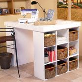 Great Work Area Love The High Island Table With Storage