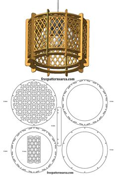 Wood Drum Chandelier Light Free Laser Cutting Design