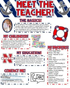 Meet the Teacher Newsletter Nautical Theme- Red White and Blue EDITABLE! Perfect for all grade levels and subject areas! Great for back to school and open house!