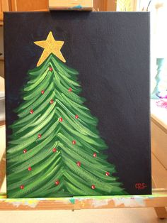 Original Holiday Glitter Christmas Tree painting Christmas holiday decor or gift on Etsy, $25.00
