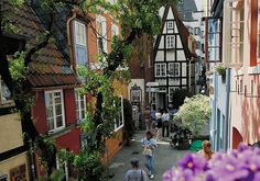 Bremen, Germany - some fairy-tale-looking architecture and color on a cozy, narrow street.