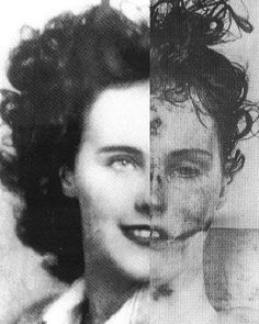 Elizabeth Short (before and after death), better known as The Black Dahlia, arrested in 1943 for underage drinking in Santa Barbara. Born in Medford, MA, in 1924, Short spent her time after high school criss-crossing the country, eventually settling in Hollywood with predictably unrequited starlet-type aspirations. This aimless young lady came to national attention on 15 January 1947, after a stroller-pushing mother discovered her torn body in a vacant lot...