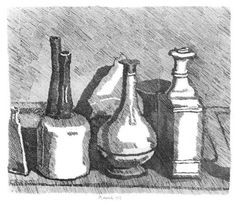 Giorgio Morandi, Still Life, Etching, Courtesy of Galleria d'Arte Maggiore Bologna, on show at the Estorick Jan-Apr 2013 Italian Painters, Italian Artist, Drawing Artist, Line Drawing, Gouache, Bottle Drawing, Still Life Artists, Still Life Images, Observational Drawing