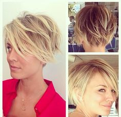 Kaley Cuoco hair...super cute! Maybe a great transition cut for when I grow mine out!