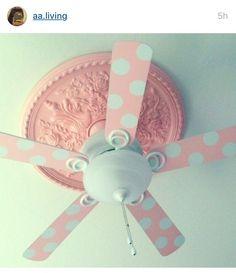 Wallpaper the fan blades & add ceiling pop of pink!