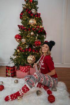 Christmas Looks From 3 Sisters Cool Christmas Trees, Christmas Morning, Xmas Tree, Christmas Wreaths, Xmas Movies, Cozy Pajamas, Movie Tees, Holiday Pajamas, Holiday Looks