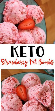 Keto Fat Bombs - TASTY 5 ingredient strawberry low carb fat bombs for ketogenic diet. Easy low carb recipes for creamy fat bombs. Dessert Simple, Keto Dessert Easy, Cream Cheese Fat Bombs, Cream Cheese Recipes, Keto Bombs, Aip Fat Bombs, Easy Fat Bombs Keto, Fat Bombs Low Carb, Keto Diet Breakfast