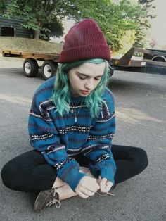 leggings, sweater, moccasins, and that blue hair <3