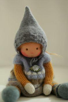 Waldorf knitted doll Roberta 13 by Peperuda by danielapetrova