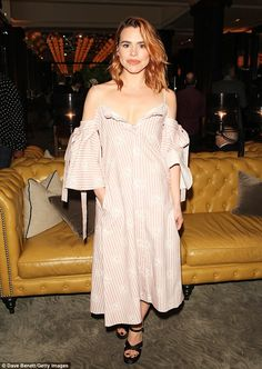 Chic: The showcased her slender shoulders in the striped loose-fitting midi dress which teased at her cleavage as she posed for photographs outside the event Billie Piper, Mode Inspiration, I Dress, Alexander Mcqueen, My Design, Celebrity Style, Awards, Celebs, Poses
