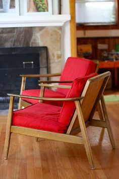 Mid-Century Red Chairs; looks like chairs I pulled off the side of the road to redo!