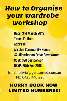 A flyer for How to Organise your Wardrobe? Workshop.