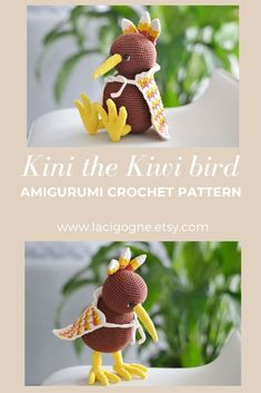 Kini the kiwi Amigurumi crochet pattern. Amigurumi Patterns, Amigurumi Doll, Crochet Patterns, Crochet Birds, Crochet Toys, Free Crochet, Handmade Crafts, Handmade Ideas, Etsy Handmade