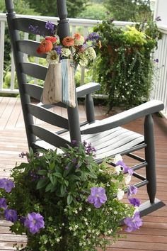 Decoration, Interesting Enjoy Summer Porch Decor With Outdoor Wooden Chairs Simple Living Room Decorating Ideas: 36 Enjoyable Small Summer Front Porch Decorating Ideas Summer Front Porches, Summer Porch Decor, Country Porches, Ar Fresco, Cedar Hill Farmhouse, Modern Farmhouse, Outdoor Chairs, Outdoor Decor, Outdoor Seating