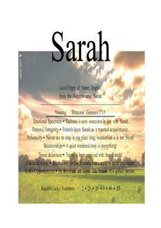The Name Sarah | Name Means Everything.Sarah, Sara, Zara, Xaria, Serah » Name Means ...
