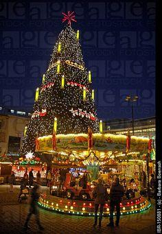 The world's tallest Christmas tree, Christmas fair, Dortmund, North Rhine-Westphalia, Germany