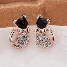 2015 New Hot !!! Korean Fashion Fine Jewelry Gold Plated Rhinestone Cat Cute Sweet Dazzling Bow Stud Earrings For Women E-176