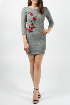 e837004296 Grey flower design knitted classic dress Grey Flowers