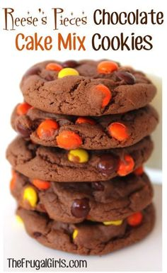 Reese's Pieces Chocolate Cake Mix Cookies Recipe! ~ from TheFrugalGirls.com {these Reeses cookies are SO easy to make, and absolutely delicious!!} #cookie #recipes #thefrugalgirls