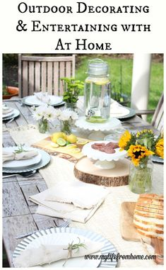 Rustic summer tablescape and patio refresh Outdoor Dining, Outdoor Decor, Outdoor Spaces, White Cottage, Do It Yourself Home, Diy Craft Projects, Project Ideas, Cottage Homes, Decoration