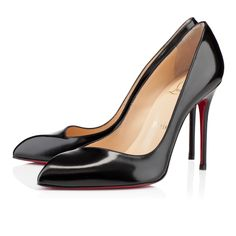 """$675 Corneille - Christian Louboutin """"Corneille"""" stands out with her unique architectural allure. Her asymmetrical toe box is a beautifully crafted detail that adds a sophisticated touch to her single sole shape. In black jazz calf leather, she is a style you will rely on for many seasons to come."""