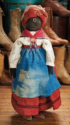 """The Blackler Collection (Part 2 of set): 97 Most Endearing American Black Cloth """"Make-Do"""" Folk Doll Victorian Dolls, Antique Dolls, Vintage Dolls, Black Queen, Creepy People, Homemade Dolls, Doll Maker, Fabric Dolls, Doll Toys"""