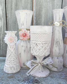 Burlap and Lace Pink Shabby Chic Vase Collection, Wedding Vase Decor, Rustic Shabby Chic Wedding. $149.00, via Etsy.