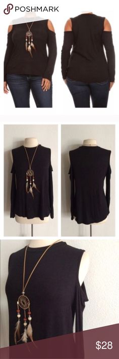 "(Plus) Black cold shoulder top Black cold shoulder top. 70% polyester/ 26% rayon/ 4% spandex. Super soft and stretchy! Comes with dream catcher necklace. I suggest ordering a size up on this one.  1x: L 26"" B 40"" 2x: L 27"" B 42""  ⭐️This item is brand new from manufacturer without tags.  🚫NO TRADES 💲Price is firm unless bundled 💰Ask about bundle discounts Availability: 1x•2x• 2•1 Tops"