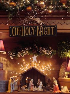 Christmas Nativity& like the lights behind it and the star! And the Oh Holy Night Sign above it! Noel Christmas, Merry Little Christmas, Christmas Is Coming, Country Christmas, Winter Christmas, All Things Christmas, Christmas Crafts, Meaning Of Christmas, Christmas Decorations