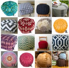poufs come in all shapes and sizes...have fun & experiment!