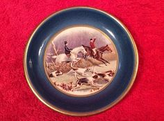 Vintage-Faience-English-Fox-Hunt-Butter-Pat-c1930-1948-ff350