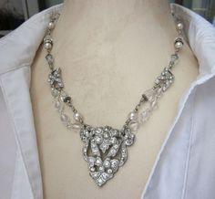 Art Deco Upcycled Vintage Necklace - Rhinestones, Crystals, Pearls - Bridal Holiday Fashion Assemblage Jewelry - Handmade OOAK.