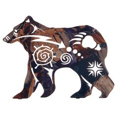 New Spirit Bear Wildlife Metal Wall Art. Here we have the powerful polar bear in silhouette as emblems of the northern night sky and massive bear track emblazon his side. Beautifully designed, this wi Native American Design, Native Design, Native American Indians, Native American Bedroom, Urso Bear, Spirit Bear, Atelier D Art, Laser Cut Metal, Laser Cutting