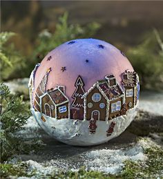 This delightful Lighted Gingerbread Globe proves that it really is a gingerbread world after all. A gingerbread village comes to life on the surface of this … Diy Clay, Clay Crafts, Christmas Balls, Christmas Ornaments, Gingerbread Village, Holiday Lights, Clay Projects, Clay Creations, Merry And Bright