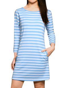 Allegra K Women's Horizontal Stripes 3/4 Sleeves Round Neck Tunic Dress Blue (Size L / 12)
