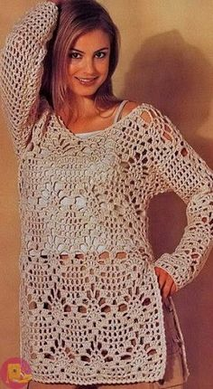 Handmade crochet dress tunic jumper women crochet clothes MADE TO ORDERStylish Tunic for Women More …We offer You a tunic crochet cotton. Cardigan Au Crochet, Crochet Tunic Pattern, Gilet Crochet, Crochet Jacket, Crochet Cardigan, Knit Crochet, Crochet Sweaters, Crochet Tops, Crochet Patterns
