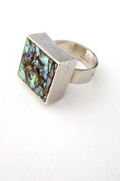 Arne Johansen, Denmark - vintage constructivist silver & abalone ring #Denmark #ring