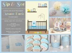 Boy Sip and See Baby Shower Party Ideas • Your Blissful Day
