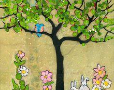 Chickadee árbol pintura impresión Gicle arte de por blendastudio