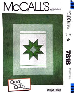 8 Point Star Quilt Pattern Calico Christmas Star Quilt Pattern McCalls 7816 Full / Queen Size UNCUT by TheOldLeaf on Etsy
