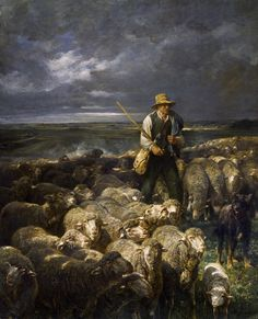 Charles Emile Jacque Shepherd And His Flock print for sale. Shop for Charles Emile Jacque Shepherd And His Flock painting and frame at discount price, ships in 24 hours. Sheep Paintings, Paintings For Sale, Chrysler Museum, Sheep Art, Farm Art, The Good Shepherd, Types Of Art, Artist Painting, Illustrations