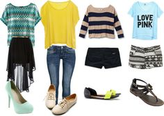 A fashion look from July 2012 featuring yellow top, stripe shirt and green shirt. Browse and shop related looks. Shoe Bag, Polyvore, Bags, Stuff To Buy, Clothes, Shopping, Shoes, Collection, Design