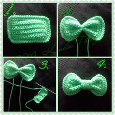 FREE PATTERN - Crochet Hair Bow with Photo Tutorial Created by Photo Grid. Android iPhone Just a cool tip I use when I crochet bows; make a rectangle, take a strand of the same color yarn and tie a couple of times tightly (instead of wrapping) aroun… Appliques Au Crochet, Crochet Bow Pattern, Bonnet Crochet, Crochet Motifs, Crochet Flower Patterns, Crochet Flowers, Crochet Stitches, Tutorial Crochet, Crochet Ideas
