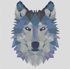 Counted-Cross-Stitch-Pattern-or-Kit-Animal-Geometric-wolf-wolf-cross-stitch